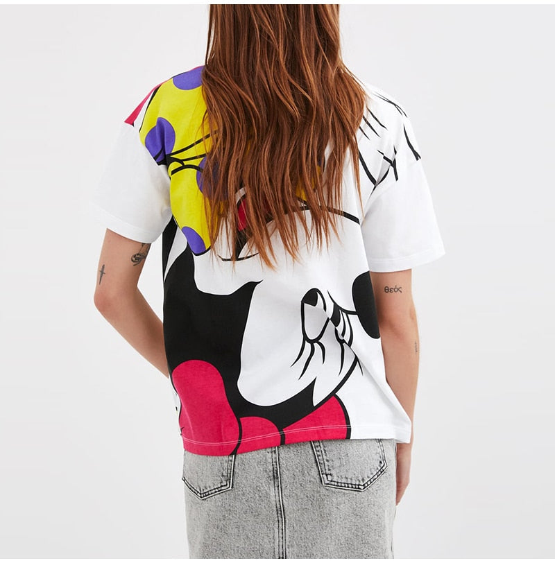 cartoon print white t shirt - FashionKila.com