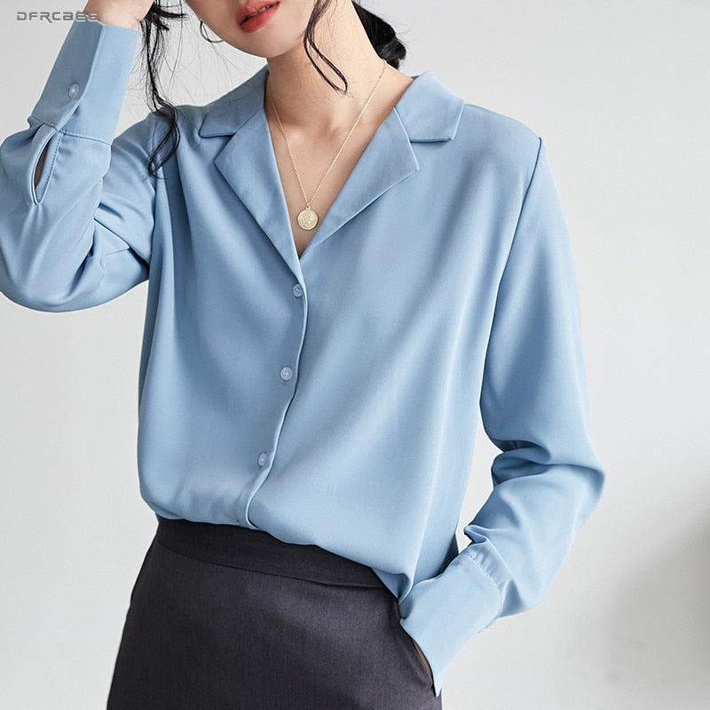 Chiffon Blouses Tops Long Sleeve - FashionKila.com