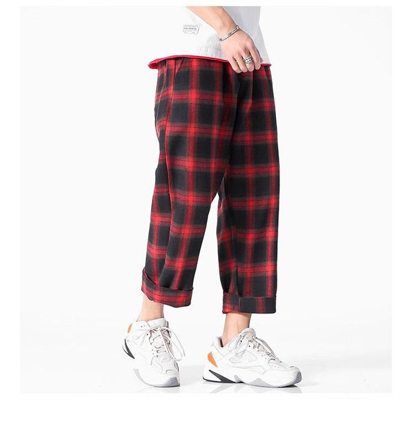 Men Joggers  plaid pants - FashionKila.com