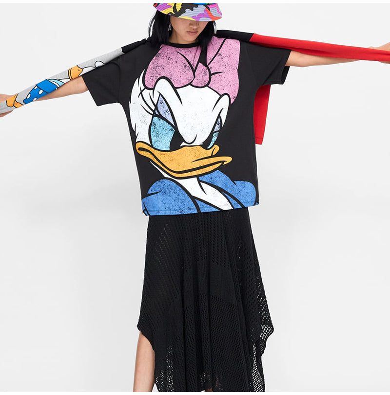 Loose cartoon women t shirt - FashionKila.com