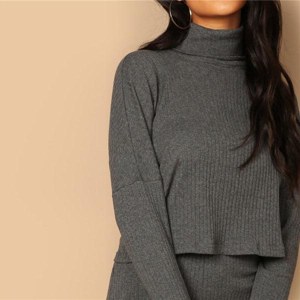 Grey set turtleneck rib-knit drop shoulder Crop Top and Leggings - FashionKila.com