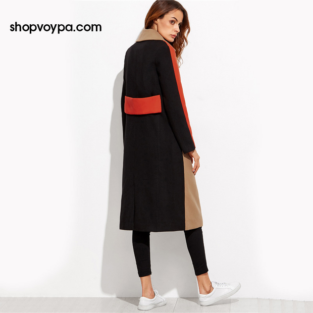 Color Block Patchwork Double Breasted Coat-Coat-Shopvoypa