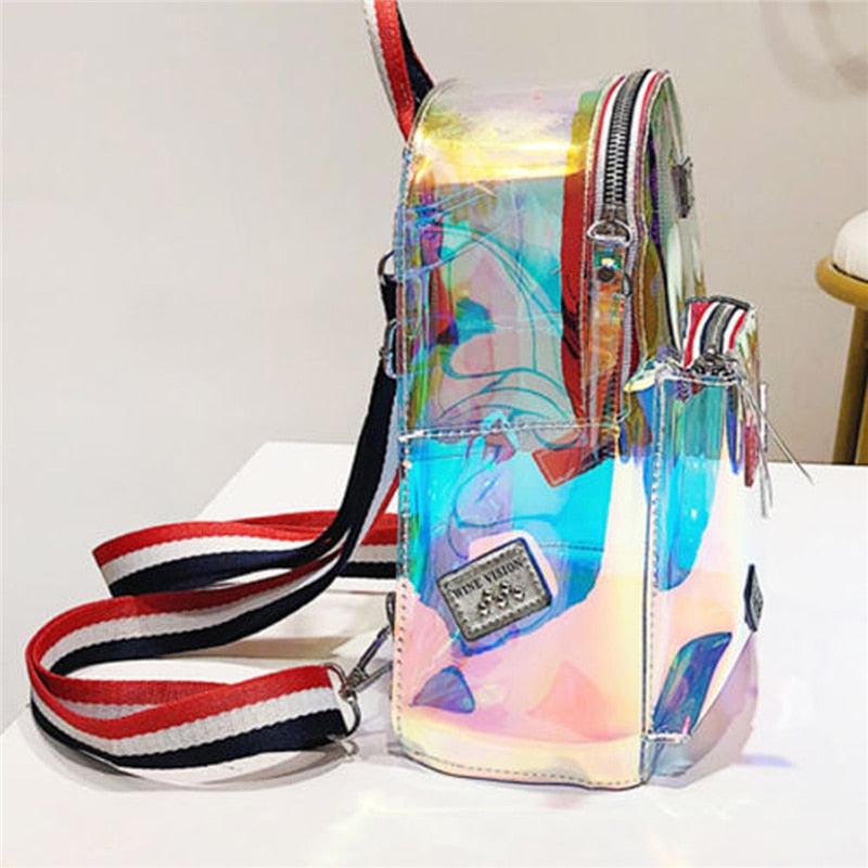 Transparent PVC Through Mini Backpack - FashionKila.com