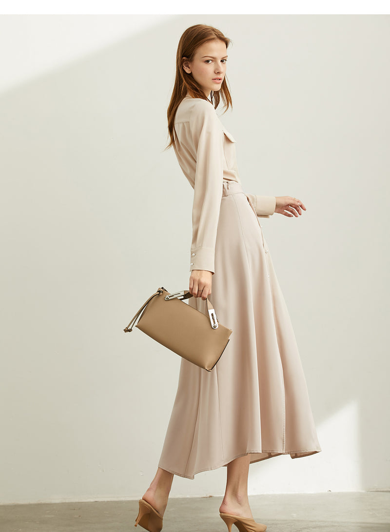 Minimalist chiffon shirt with belt skirt - FashionKila.com