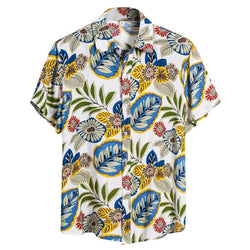 Ethnic short sleeve linen print shirt - FashionKila.com