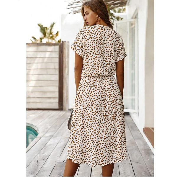 Dots print white summer dress - FashionKila.com