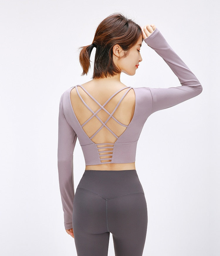 Back straps yoga crop tops - FashionKila.com