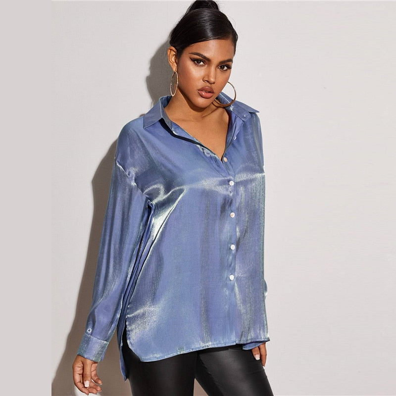 Button Front Drop Shoulder Metallic Shirt - FashionKila.com