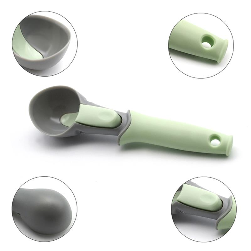 Ice-cream Scooper with Trigger - Non-Stick TPR Spoon Antifreeze Scoop for Ice Creams Cookies Doughs and Melons (Matcha Green, Set of 1)