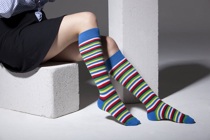 Women's Colorful Stripe Knee High Socks Set - FashionKila.com