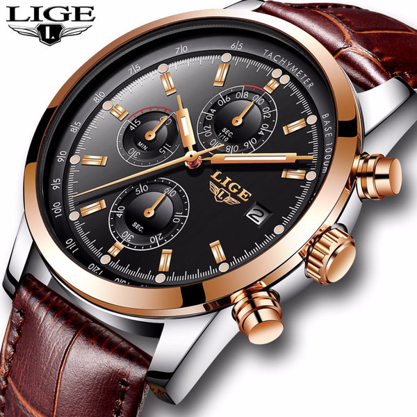 LIGE mens leather sport watches - FashionKila.com