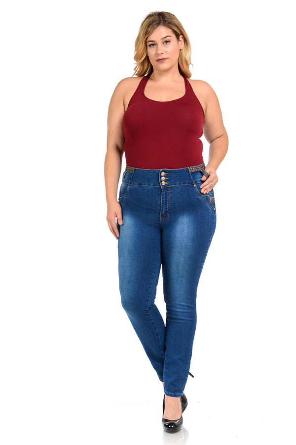 M.Michel Women's Jeans - Plus Size - High Waist - Push Up - Style D649 - FashionKila.com