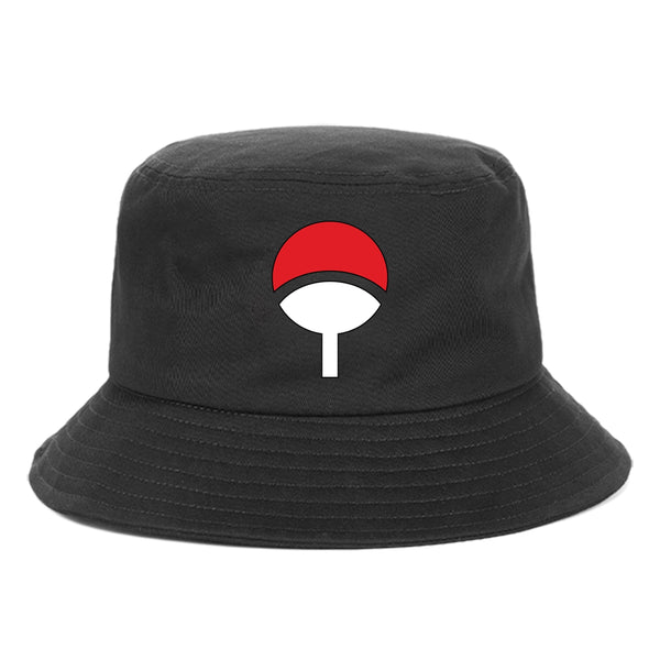 Naruto Bucket Hat Uchiha Family Logo Printed Anime Hat Unisex Panama Cap Outdoor Fishing Fishermen Hat Casual Beach Sun Hat