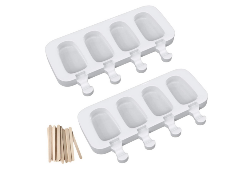 Popsicle Molds Set of 1, Silicone Ice Pop Molds 4 Cavities Homemade Popsicle Maker Ice Cream Mold Oval with 50 Wooden Sticks for DIY Ice Cream
