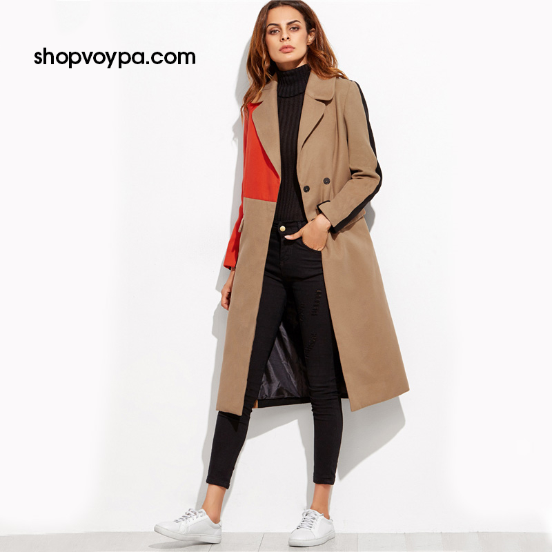 Color Block Patchwork Double Breasted Coat - FashionKila.com