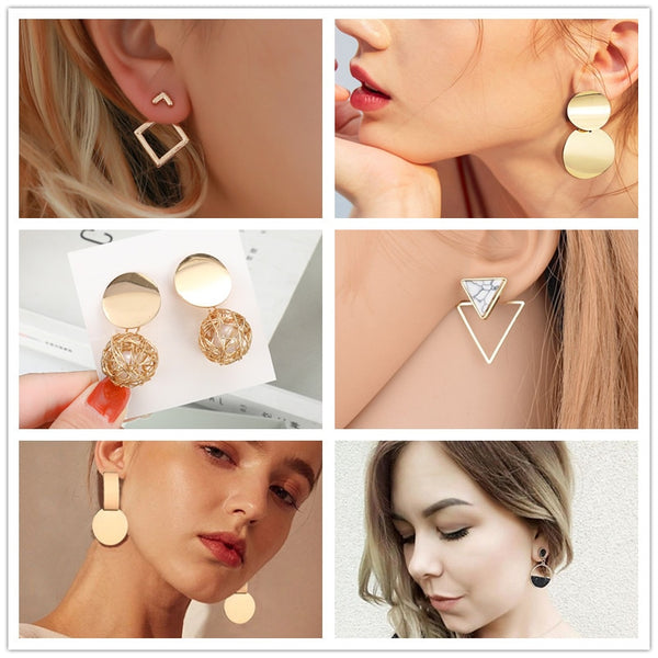 Gold unique metal drop - FashionKila.com