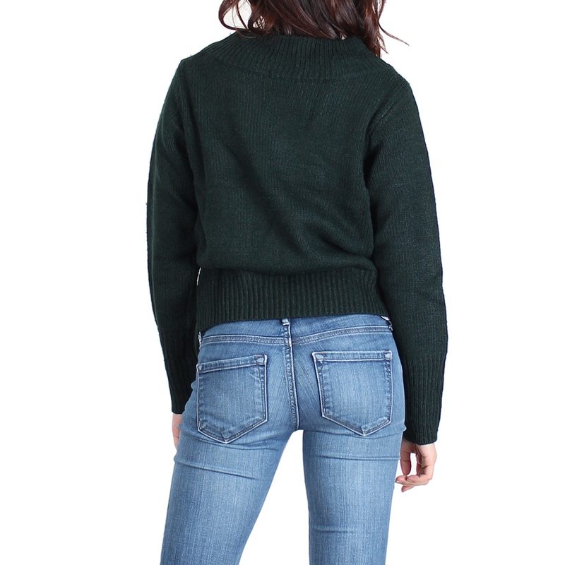 Urban Diction Olive Wide-Neck Sweater - FashionKila.com