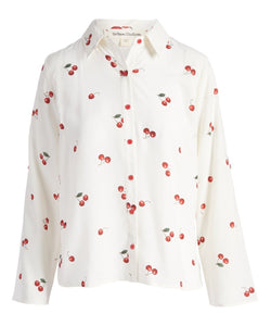 Urban Diction White & Red Cherries Hi-Low Button-Up Top - Women - FashionKila.com