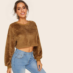 Drop Shoulder Crop Shearling Sweatshirt - FashionKila.com