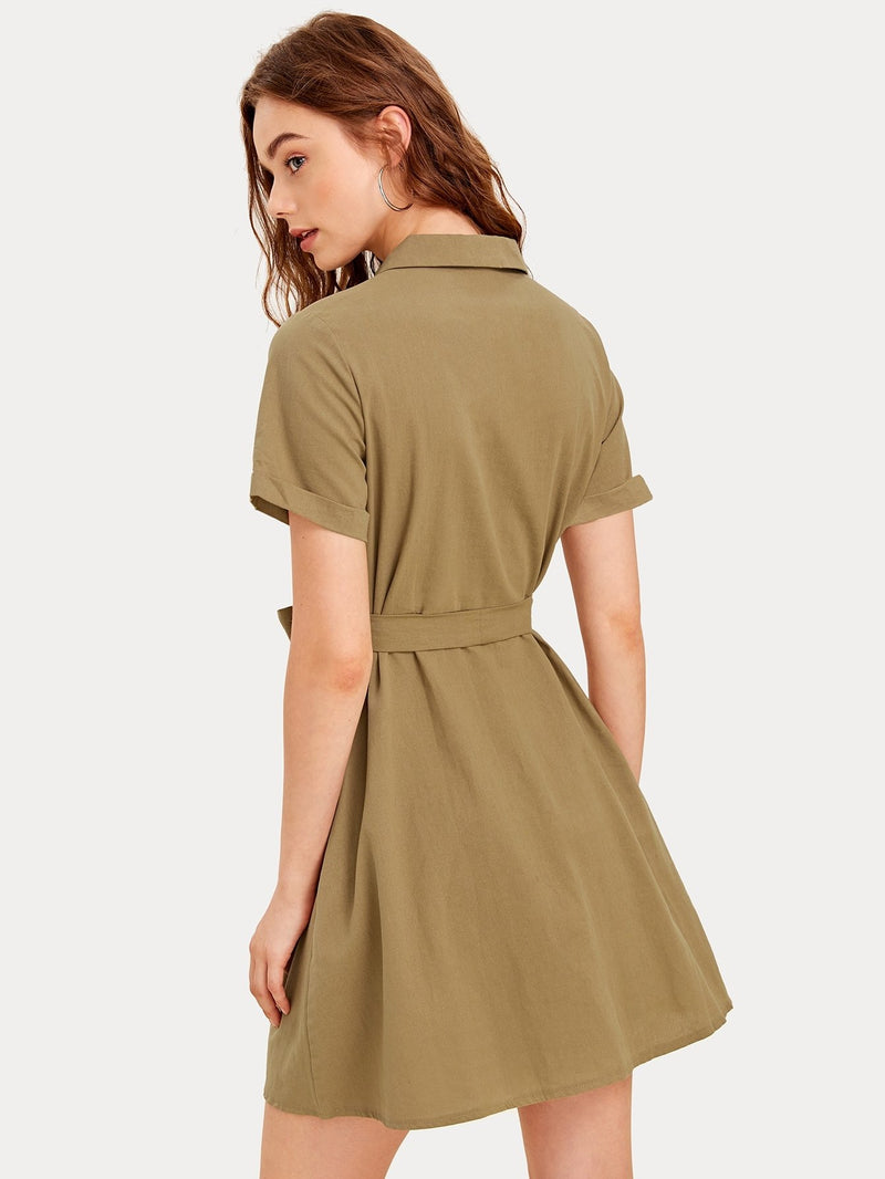 Button Front Self Tie Cargo Dress - FashionKila.com