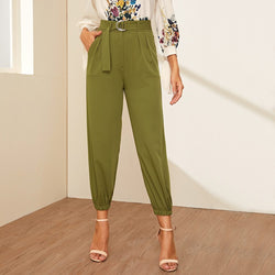 Pocket Side Belted Crop Carrot Pants - FashionKila.com