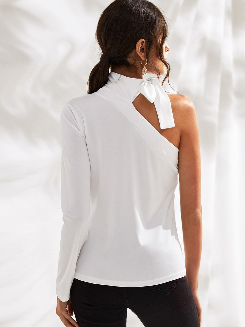 Tie Neck One Shoulder Solid Tee - FashionKila.com
