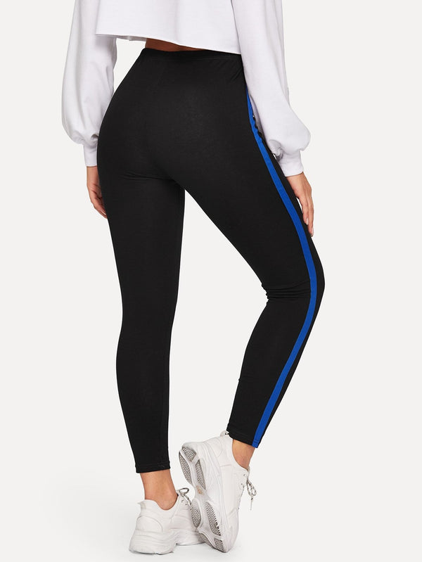 Tape Detail Elastic Waist Leggings - FashionKila.com