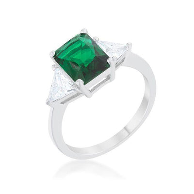 Emerald CZ Sterling Silver Ring-Shopvoypa