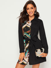 Contrast Chain Print Belted Shirt Dress