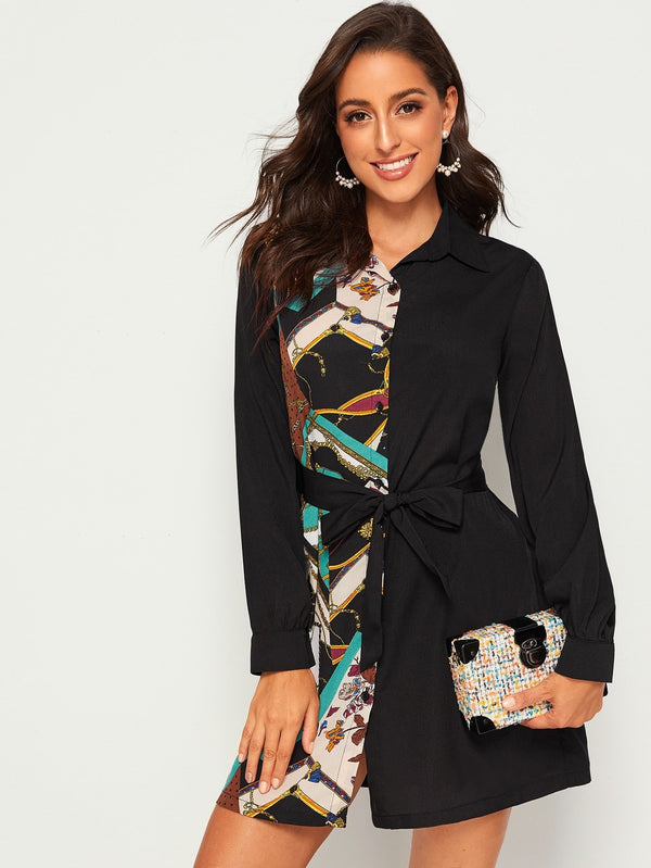 Contrast Chain Print Belted Shirt Dress - FashionKila.com