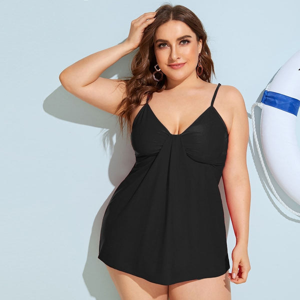Plus Detachable Straps Top With High Waist Tankini - FashionKila.com