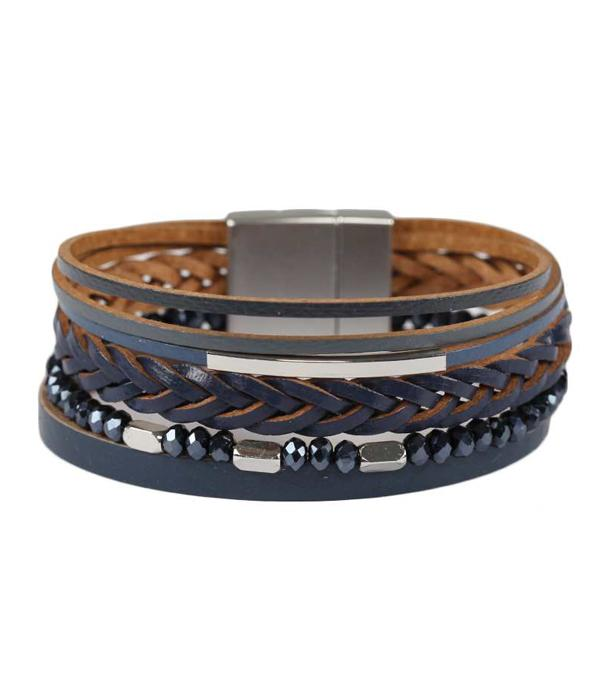 Multi Layer Leather and Glass Bracelet - FashionKila.com