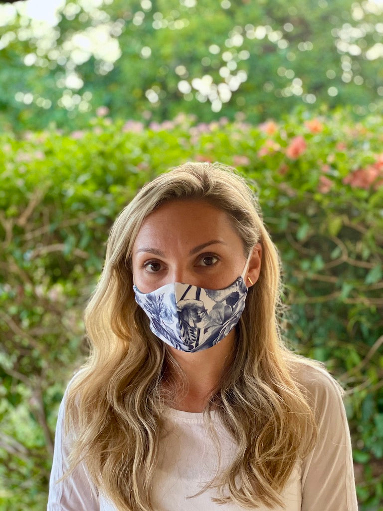 Eco-friendly Reversible Face Mask - Navy Floral and Midnight Blue