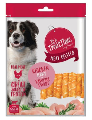 Load image into Gallery viewer, ITS TREAT TIME - CHICKEN JERKY & RAWHIDE TWIST