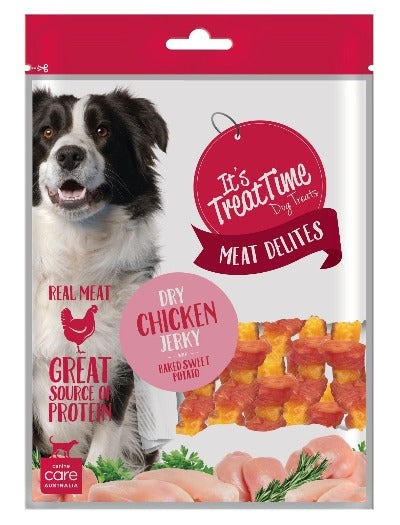 ITS TREAT TIME - DRY CHICKEN JERKY & BAKED SWEET POTATO