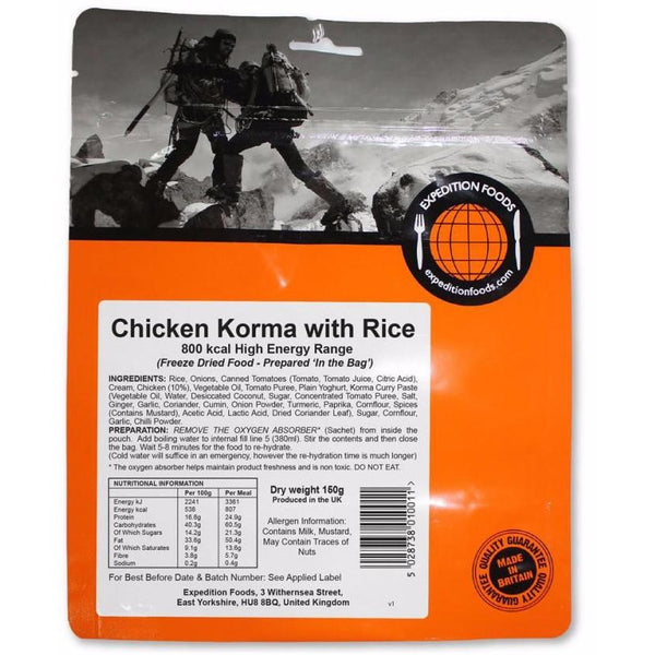 Expedition Food Chicken Korma with Rice (High Energy)