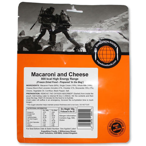 Expedition Food Macaroni and Cheese (High Energy)