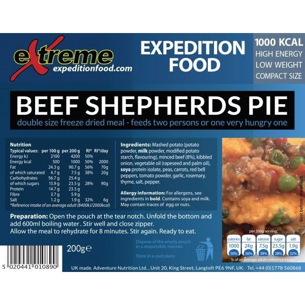 Extreme Expedition Food Beef Shepherds Pie - 1000 Kcal