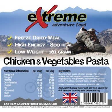 Extreme Adventure Food Chicken & Vegetable Pasta