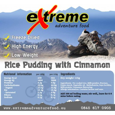 Extreme Adventure Food Rice Pudding and Cinnamon