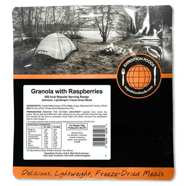 Expedition Food Granola with Raspberries