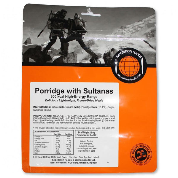 Expedition Foods Porridge with Sultanas (High Energy Serving)