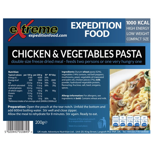 Extreme Expedition Food Chicken and Vegetable Pasta - 1000 Kcal