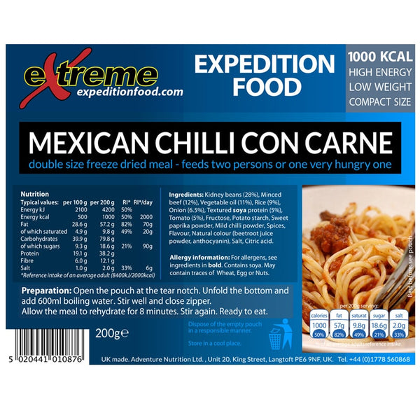 Extreme Expedition Food Mexican Chilli Con Carne - 1000 Kcal