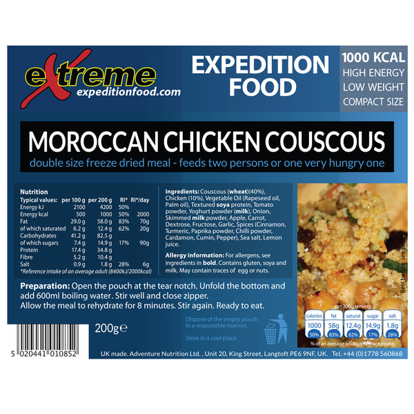 Extreme Expedition Food Moroccan Chicken Couscous - 1000 Kcal