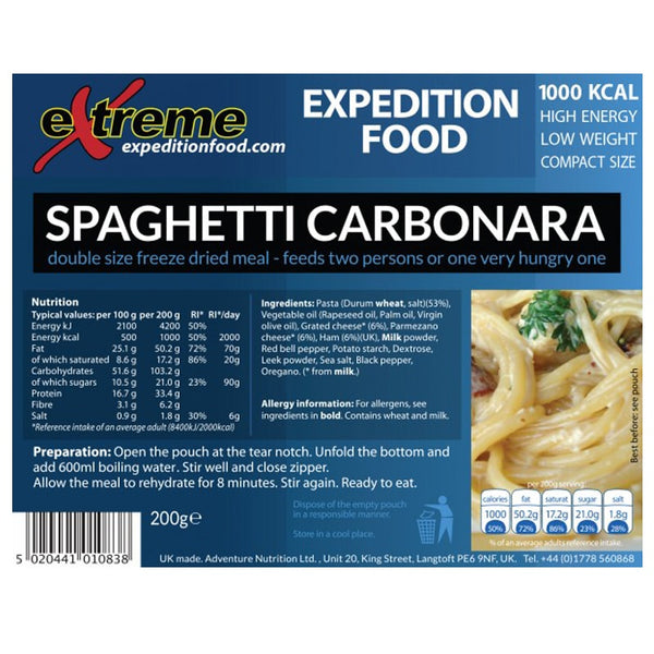 Extreme Expedition Food Spaghetti Carbonara - 1000 Kcal