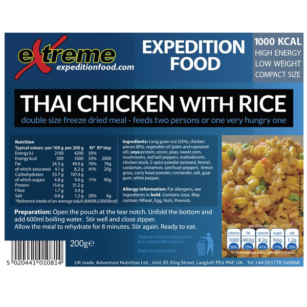 Extreme Expedition Food Thai Chicken with Rice - 1000 Kcal