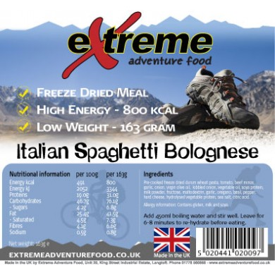 Extreme Adventure Food Pasta Bolognese