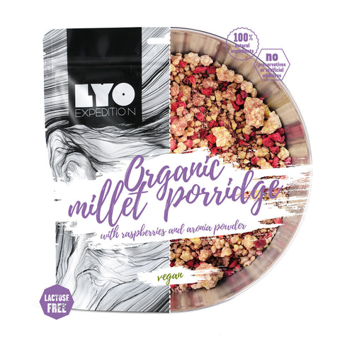 LYO Organic Millet Porridge with Raspberries and Aronia Powder