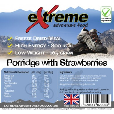 Extreme Adventure Food Porridge with Strawberries